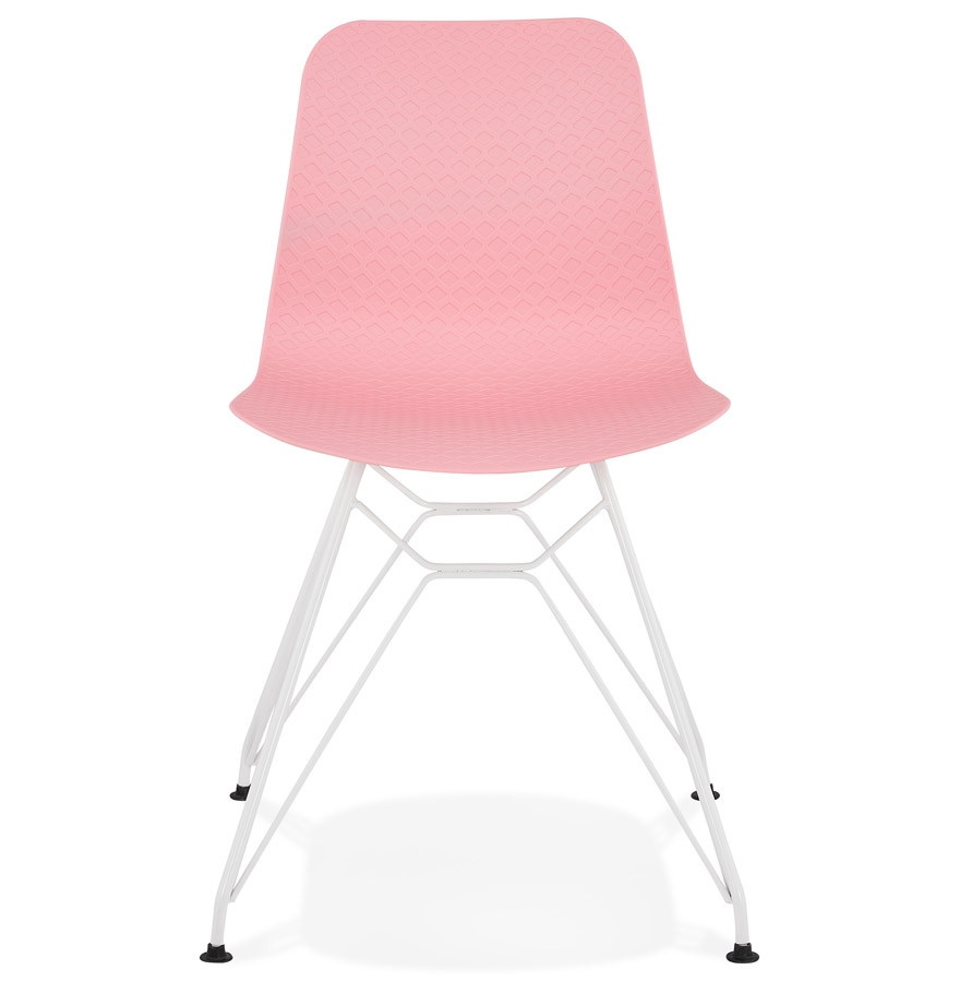 Chaise moderne ´GAUDY´ rose avec pied en métal blanc