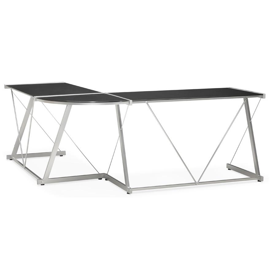 Grand bureau d´angle ´GEEK´ design en verre noir