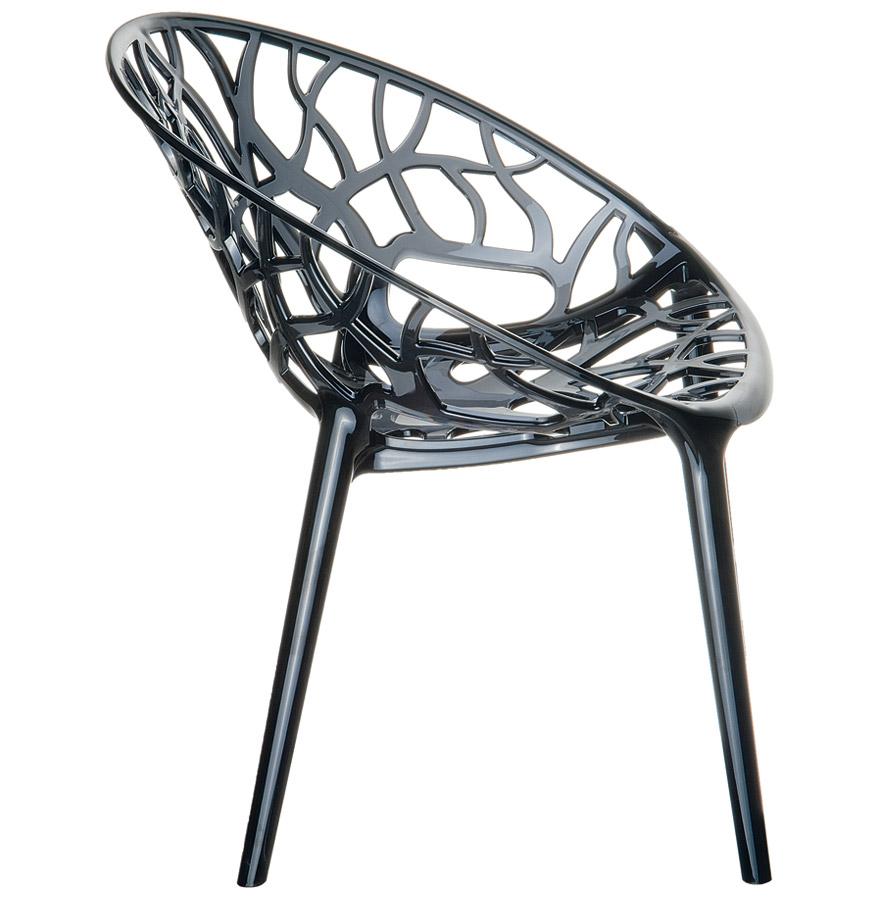 Chaise moderne ´GEO´ noire transparente en matière plastique