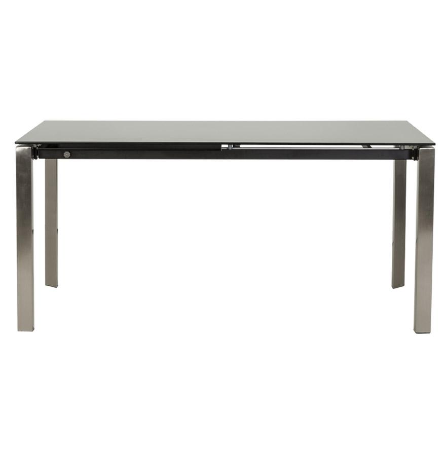 glagla black newsite 02 1 - Table à dîner extensible ´GLAGLA´ noire en verre - 160(230)x90 cm