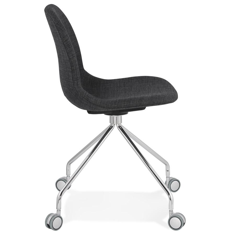 Chaise de bureau design ´GLIPS´ en tissu gris sur roulettes