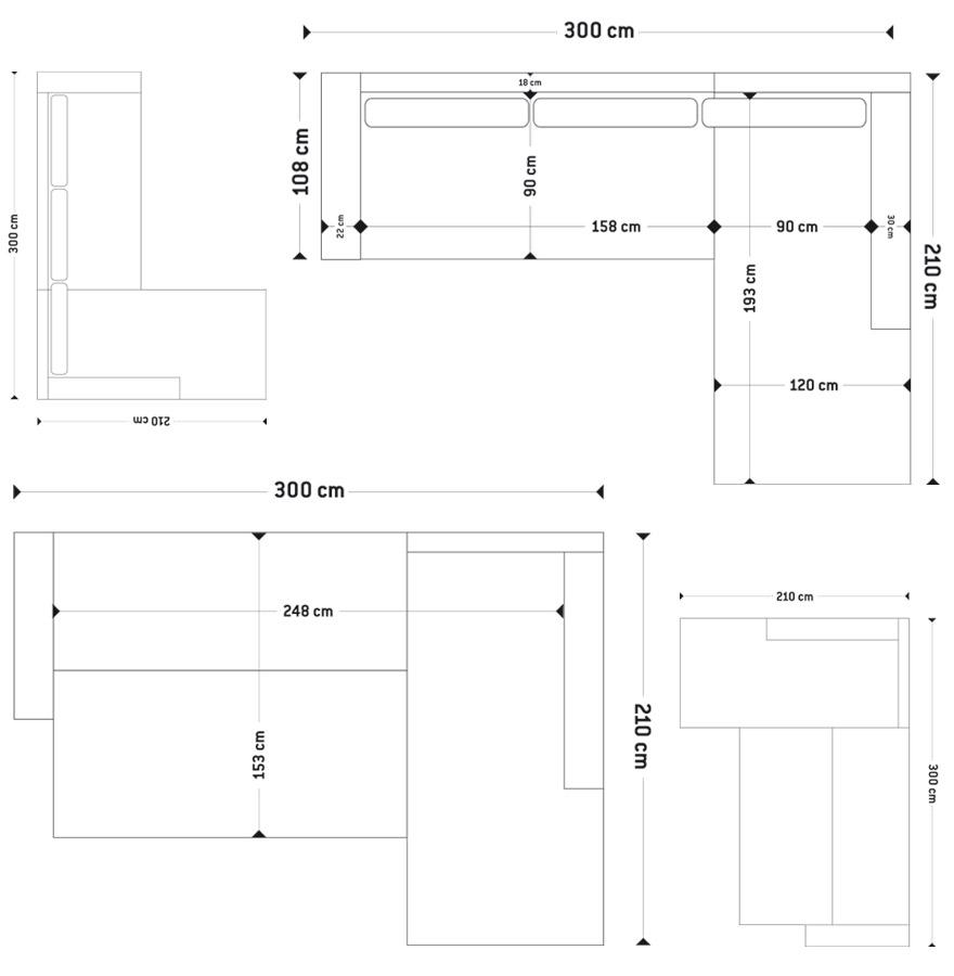 canap d 39 angle design gringo canap lit noir et gris clair. Black Bedroom Furniture Sets. Home Design Ideas