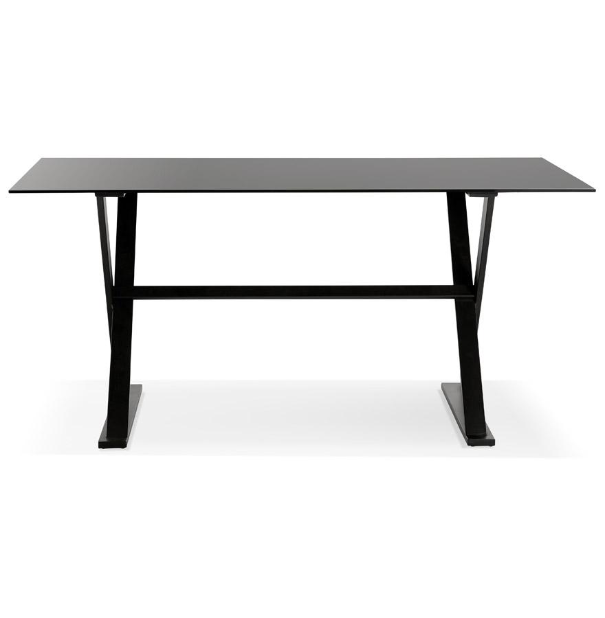 Table à diner / bureau design avec pieds en croix ´HAVANA´ en verre noir - 160x80 cm