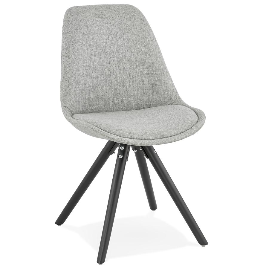chaise moderne hiphop en tissu gris et pieds en bois noir. Black Bedroom Furniture Sets. Home Design Ideas