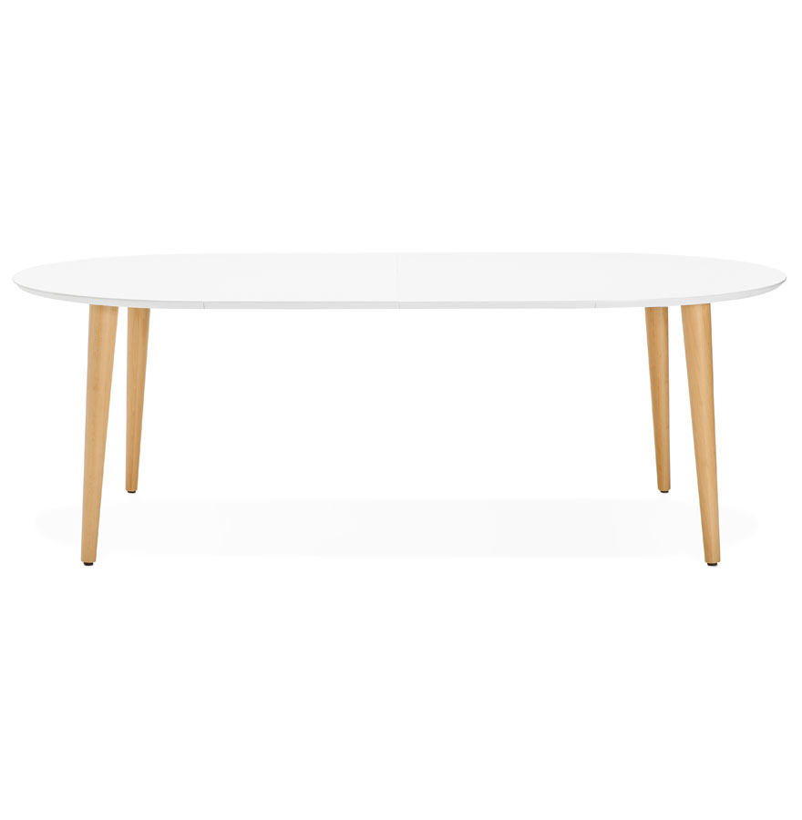 iglou white h2 gd 02 - Table à dîner ronde extensible ´IGLOU´ style scandinave - 120(220)x120 cm