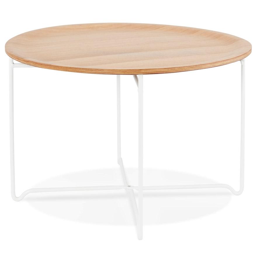 Table basse de salon ´IMOTEP´ blanche en bois et métal