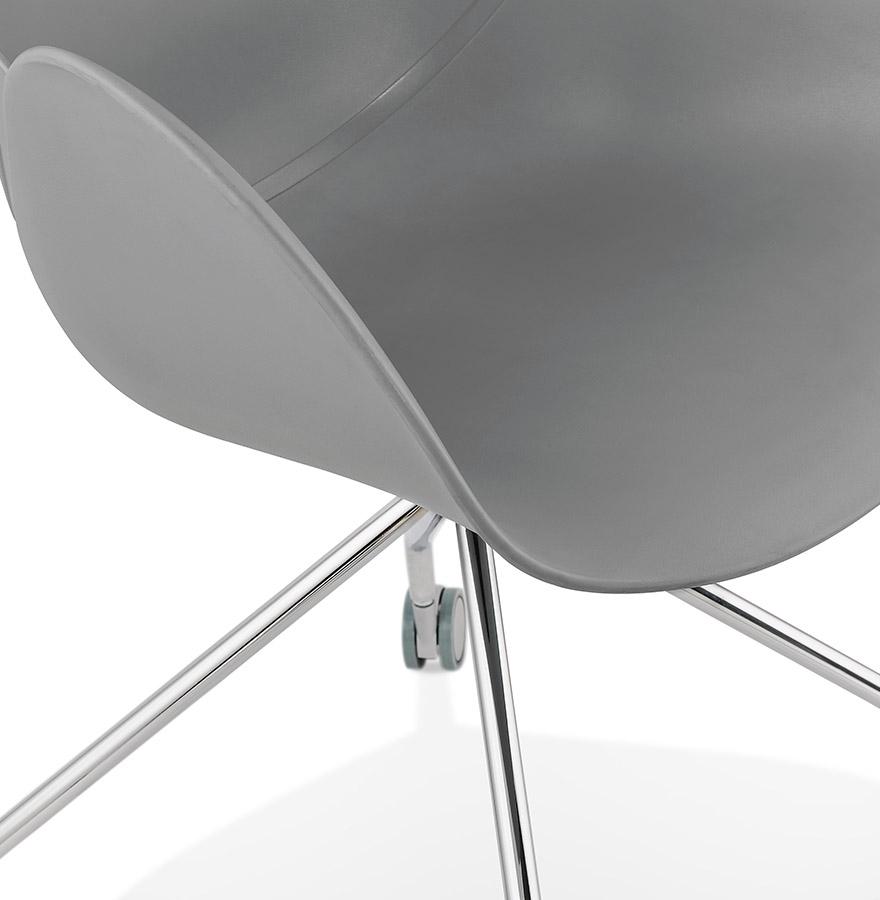 Chaise de bureau design ´JEFF´ grise sur roulettes