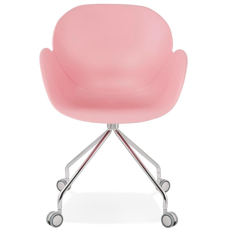 Chaise de bureau design ´JEFF´ rose sur roulettes