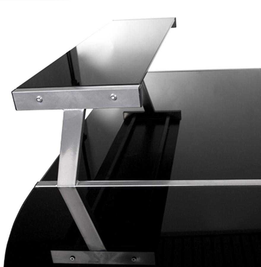 design hoekbureau uit zwart glas job met opzetstuk voor pc. Black Bedroom Furniture Sets. Home Design Ideas
