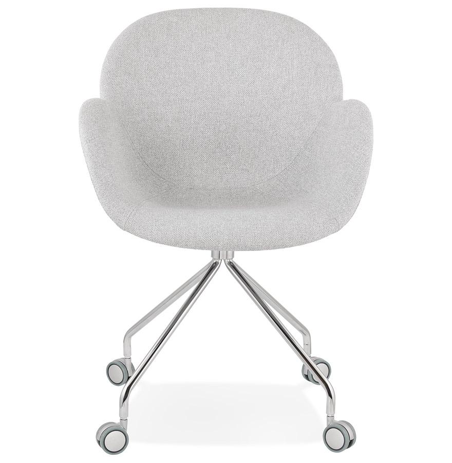 Chaise de bureau ´KEV´ en tissu gris clair confortable sur roulettes Addesign