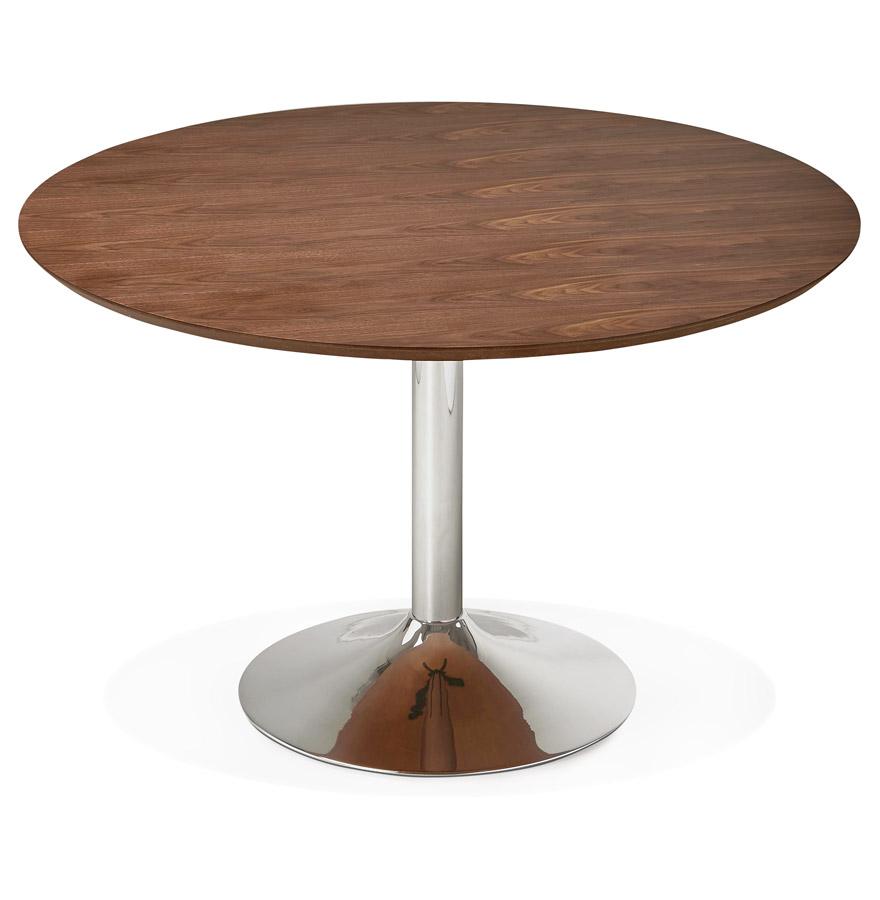 table diner ronde kitchen en bois finition noyer 120 cm. Black Bedroom Furniture Sets. Home Design Ideas