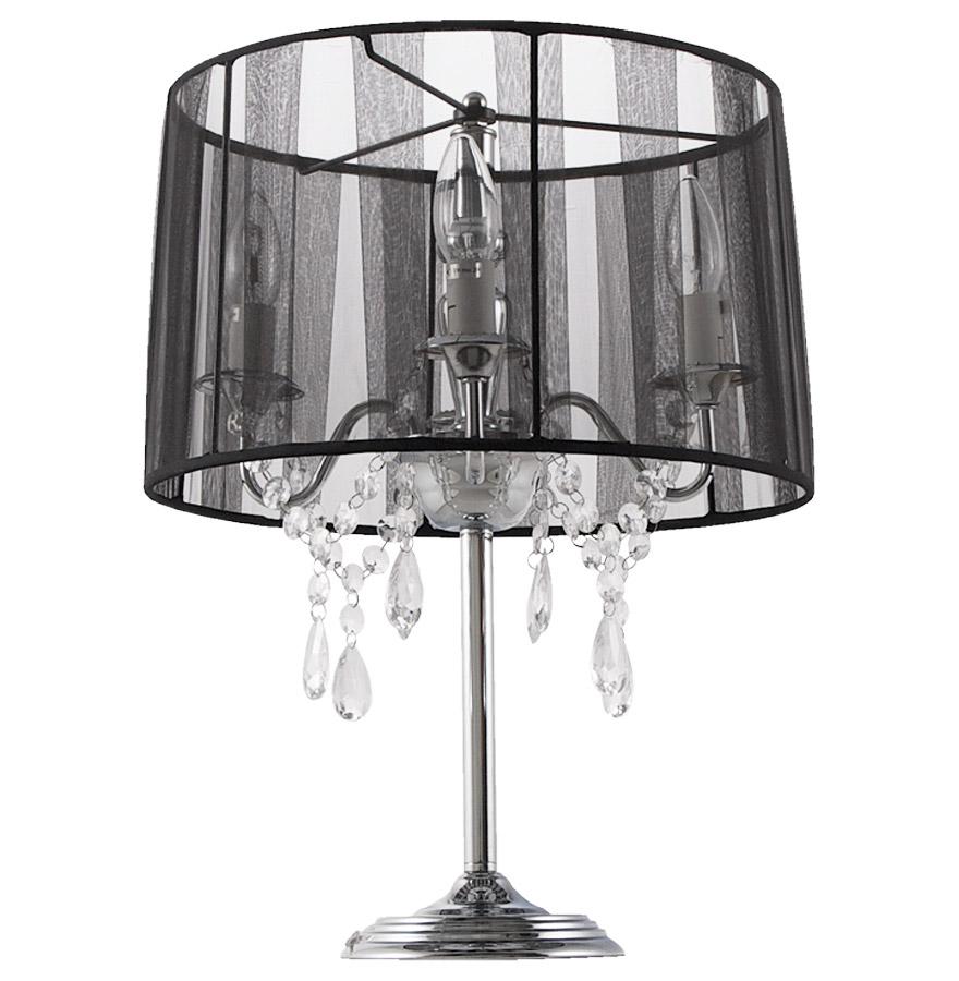 Lampe de chevet ´KLASSIK´ noire chandelier baroque à pampilles