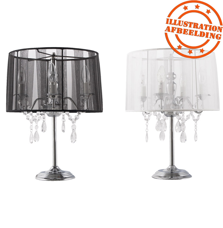 lampe de chevet klassik noire baroque pampilles lampe. Black Bedroom Furniture Sets. Home Design Ideas