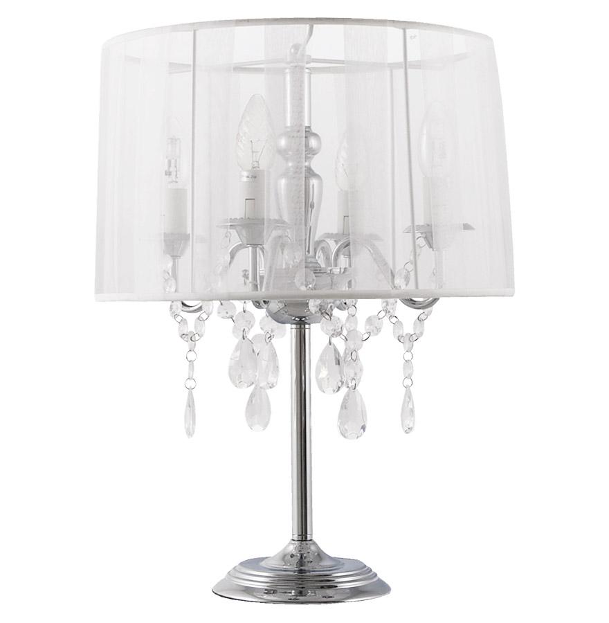 lampe de chevet klassik blanche baroque pampilles. Black Bedroom Furniture Sets. Home Design Ideas