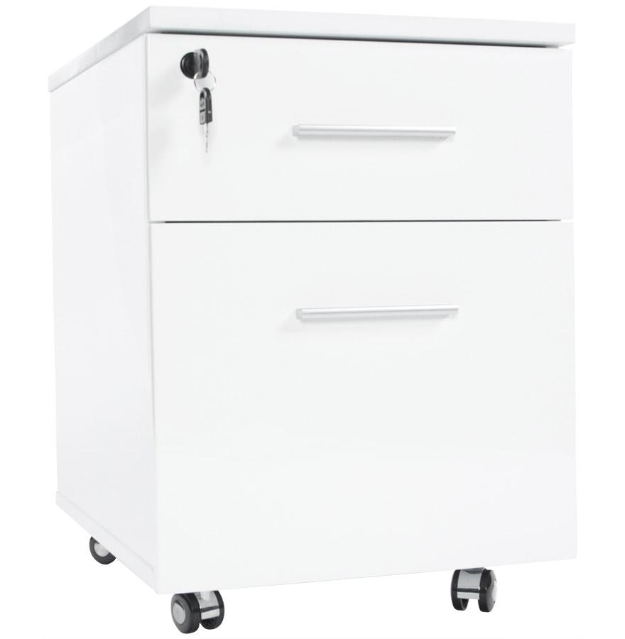 Caisson de bureau kola blanc sur roulettes caissons for Meuble bureau tiroir roulette