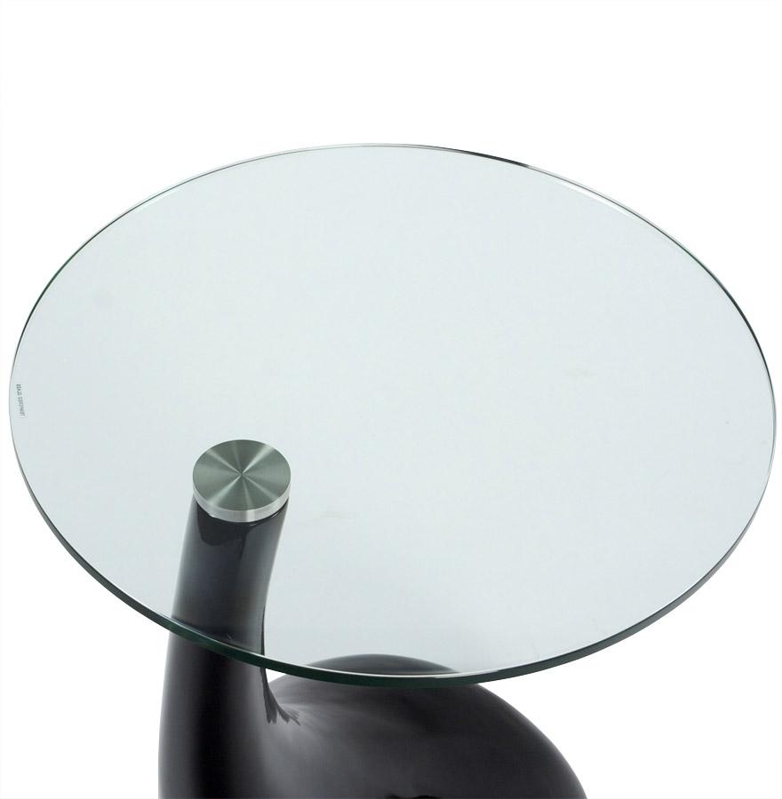 Table d´appoint ´KOMA´ design en verre et pied noir