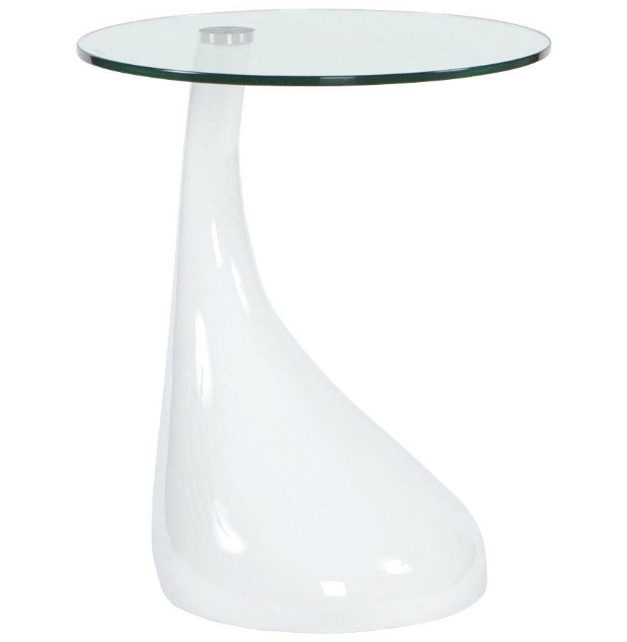 Table d´appoint ´KOMA´ design en verre et pied blanc
