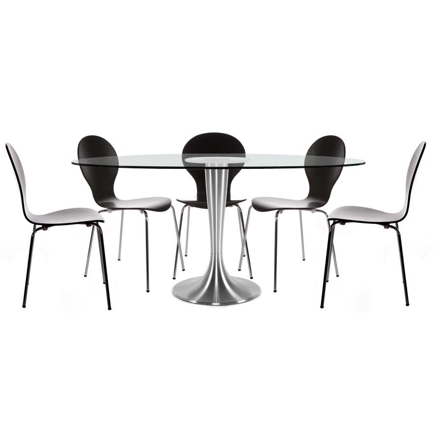 Table à dîner design ´KRYSTAL´ ovale en verre - 160x108 cm