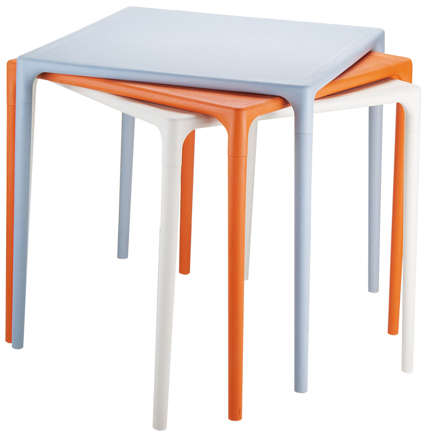 kuik orange stack - Table à dîner carrée ´KUIK´ design orange - 72x72 cm