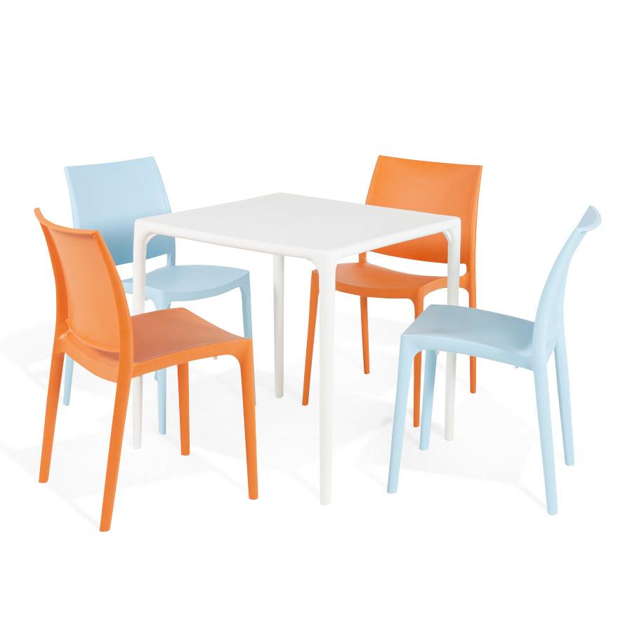 petite table design de jardin carr e kuik blanche 72x72 cm. Black Bedroom Furniture Sets. Home Design Ideas