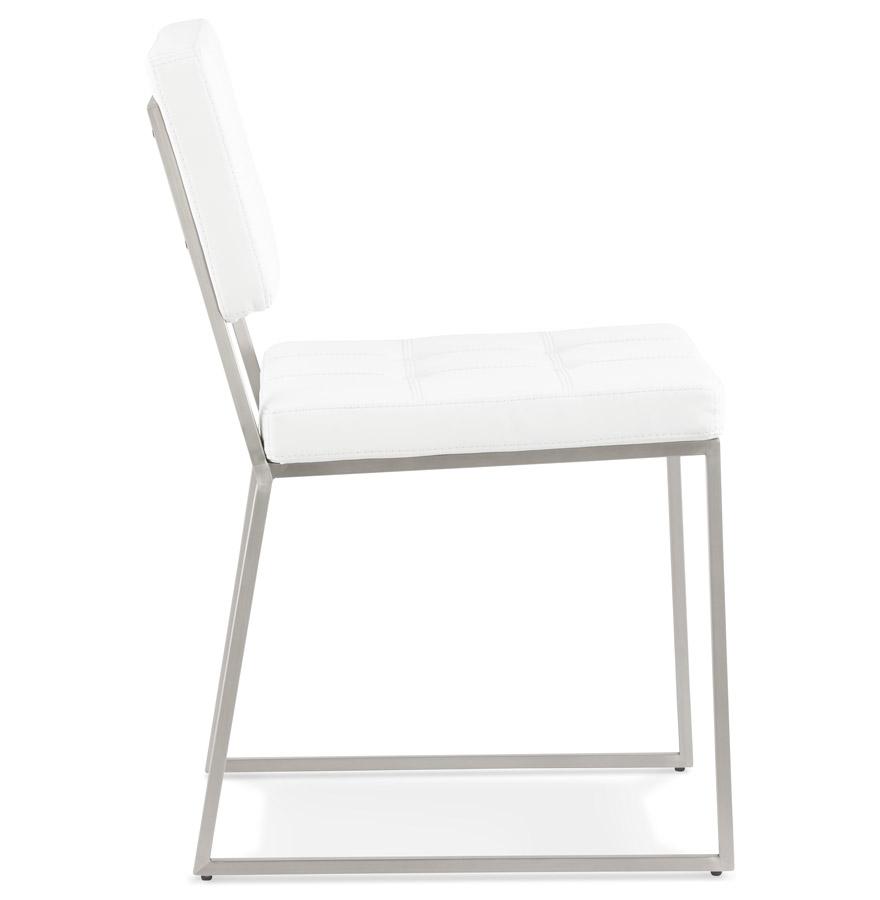 Chaise design capitonnée ´LEON´ en matière synthétique blanche