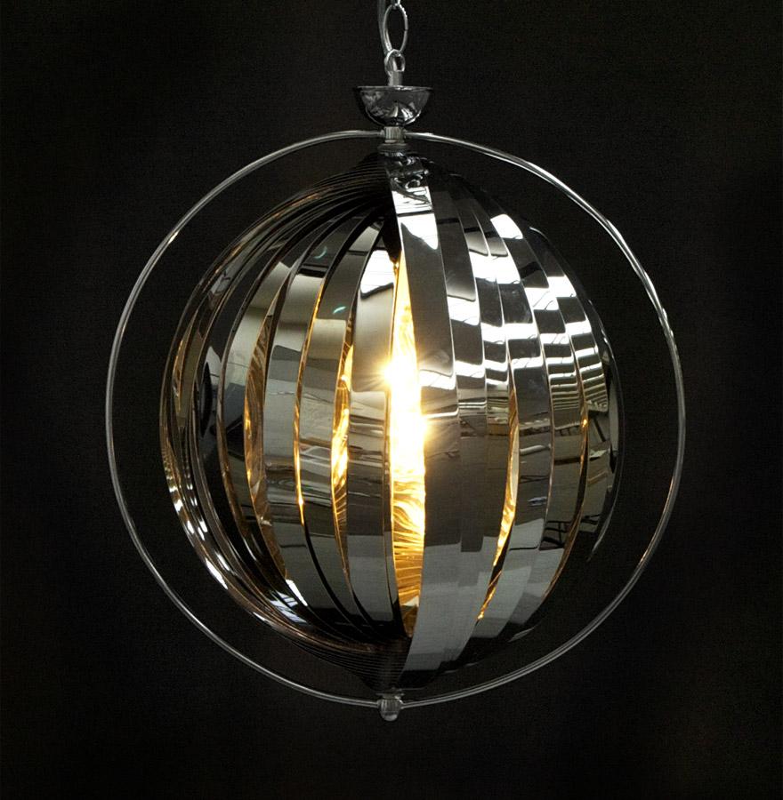 lisa chrome newsite 02 1 - Suspension boule design ´LISA´ en lamelles flexibles chromées