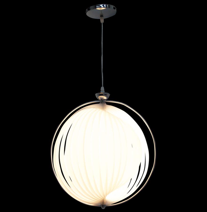 suspension boule design lisa en lamelles flexibles blanches. Black Bedroom Furniture Sets. Home Design Ideas