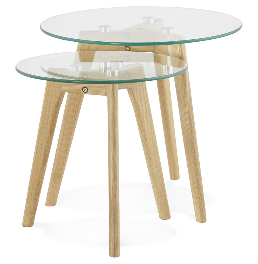 table gigogne ronde lovyou en verre table d 39 appoint design. Black Bedroom Furniture Sets. Home Design Ideas