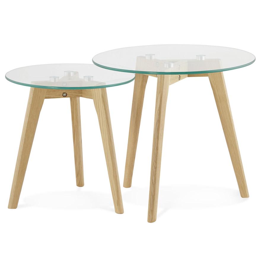 Tables gigognes ronde ´LOVYOU´ en verre