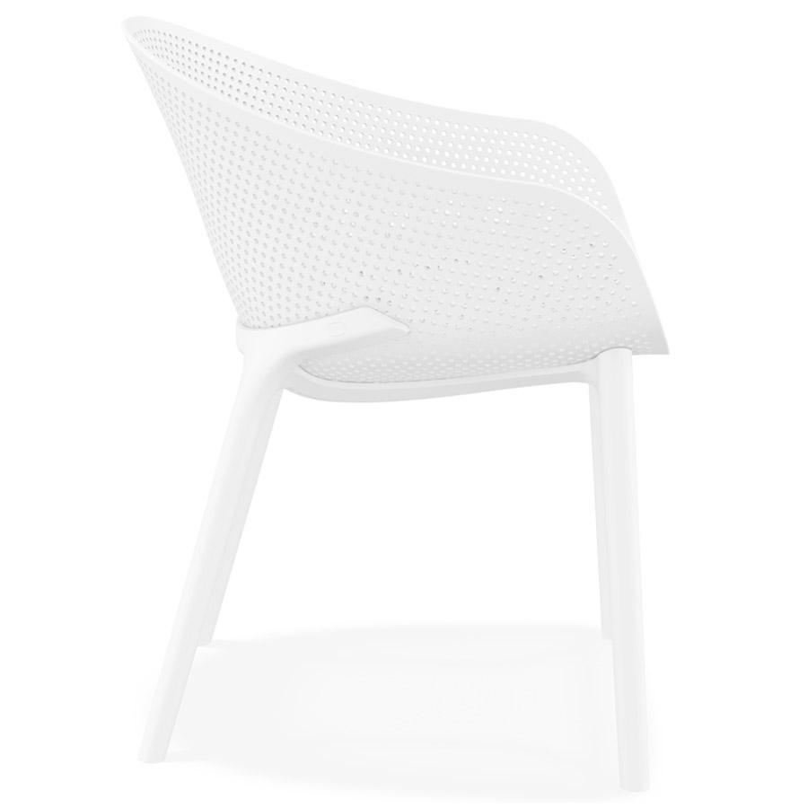 Chaise de terrasse perforée ´LUCKY´ blanche design