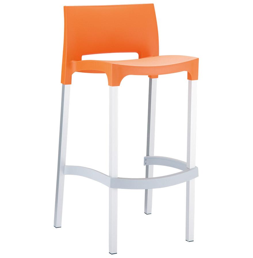 Tabouret de bar ´MATY´ orange empilable extérieur et intérieur
