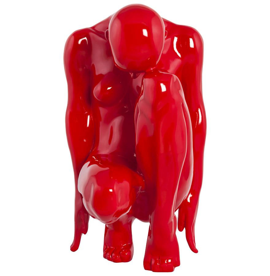 Statue déco ´MEHDI´ femme pensante en polyrésine rouge