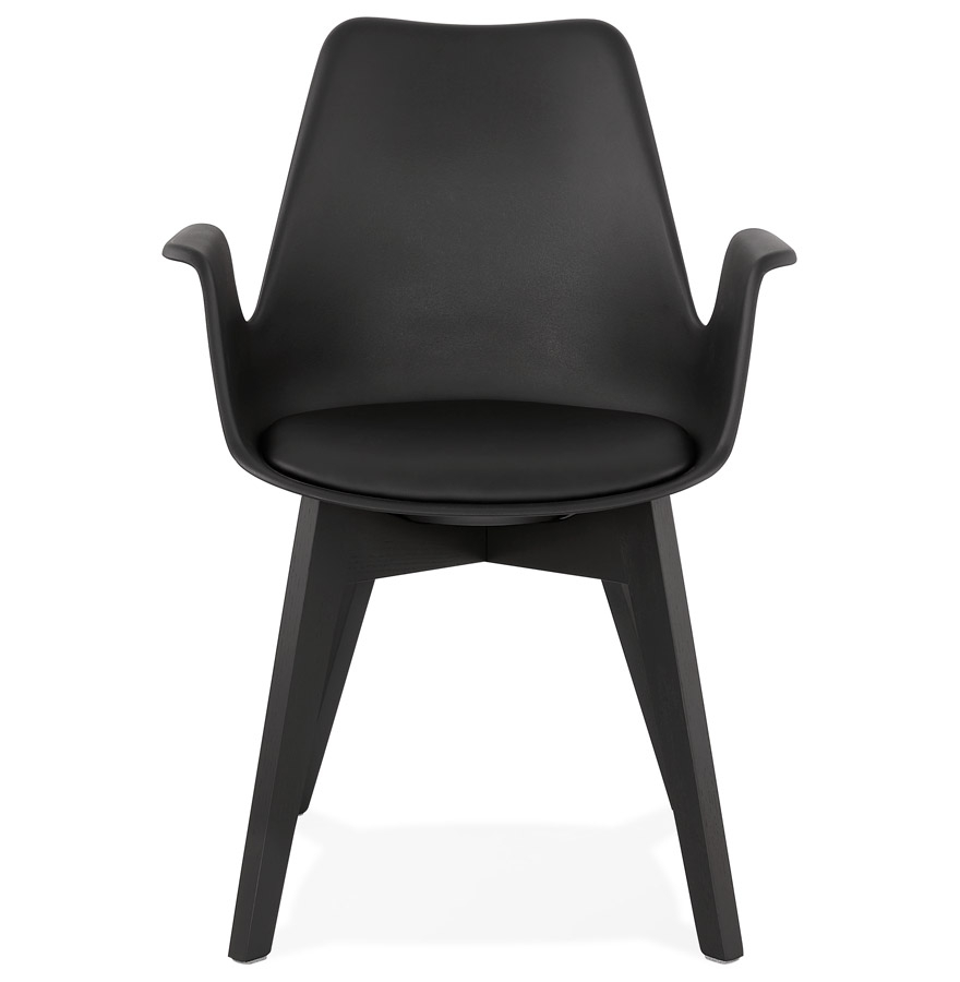 Chaise avec accoudoirs ´MISTRAL´ noire avec pieds en bois noir