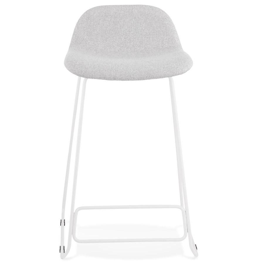 Tabouret snack mi-hauteur ´MOSKOW MINI´ en tissu gris clair et pieds en métal blanc