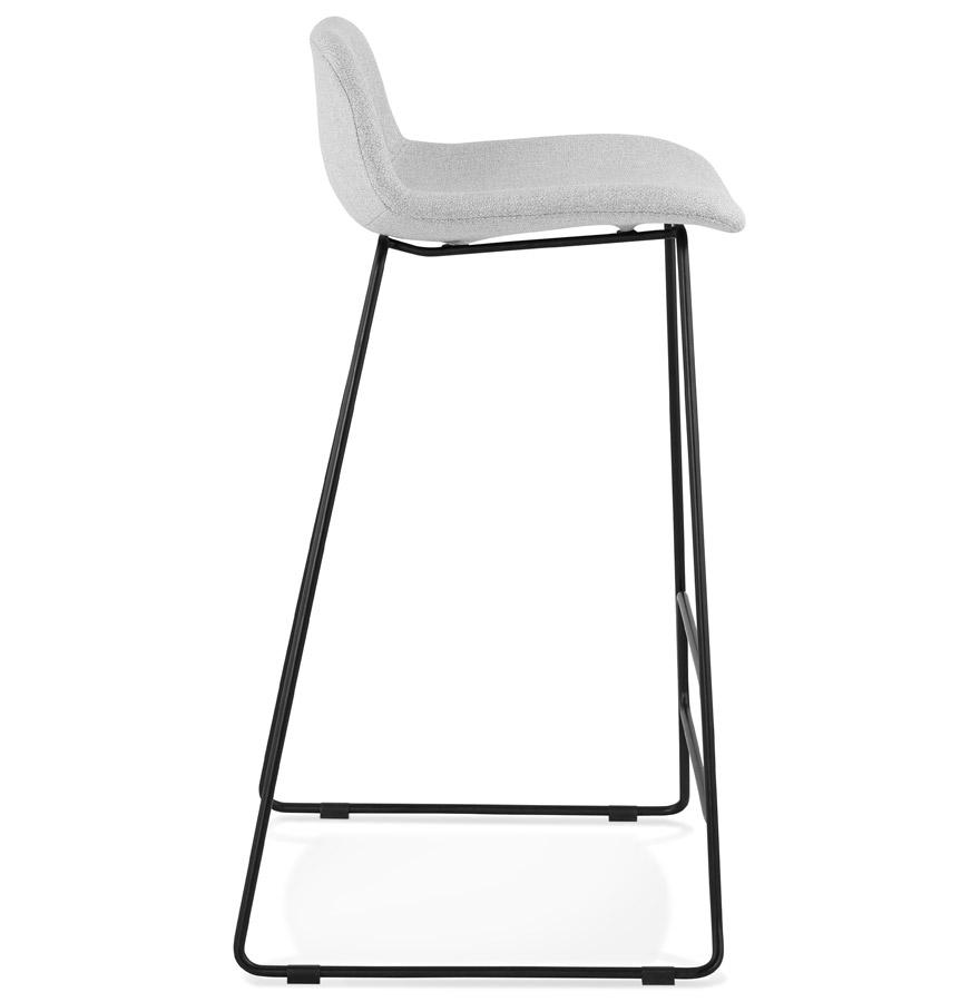 Tabouret de bar design ´MOSKOW´ gris clair avec pieds en métal noir