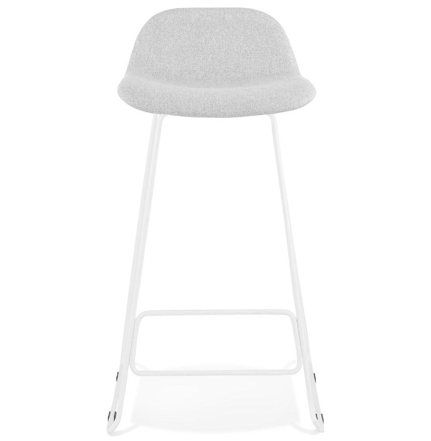 Tabouret de bar design ´MOSKOW´ gris clair avec pieds en métal blanc