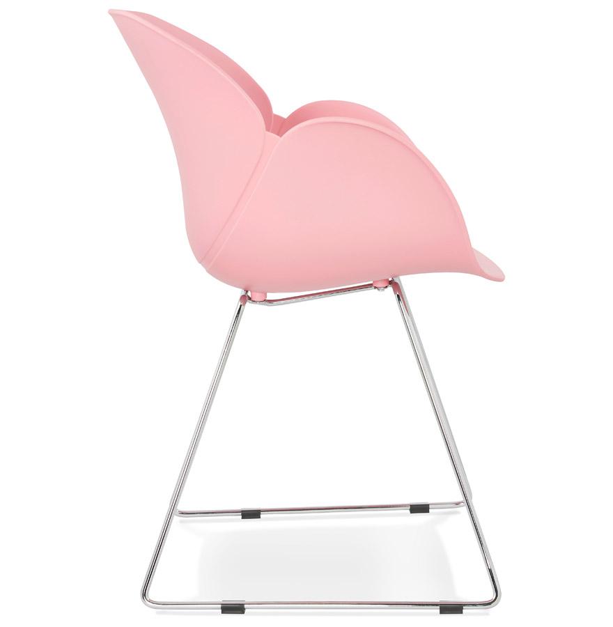 Chaise design ´NEGO´ rose en matière plastique