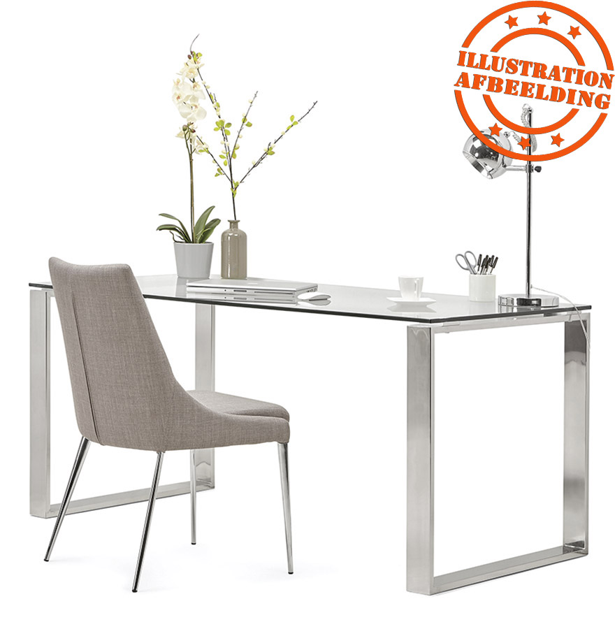 Grand bureau droit nevada en verre table diner for Grand bureau moderne