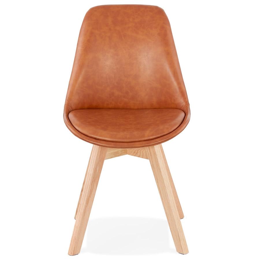 Chaise design ´NIAGARA´ brune avec pieds en bois finition naturelle