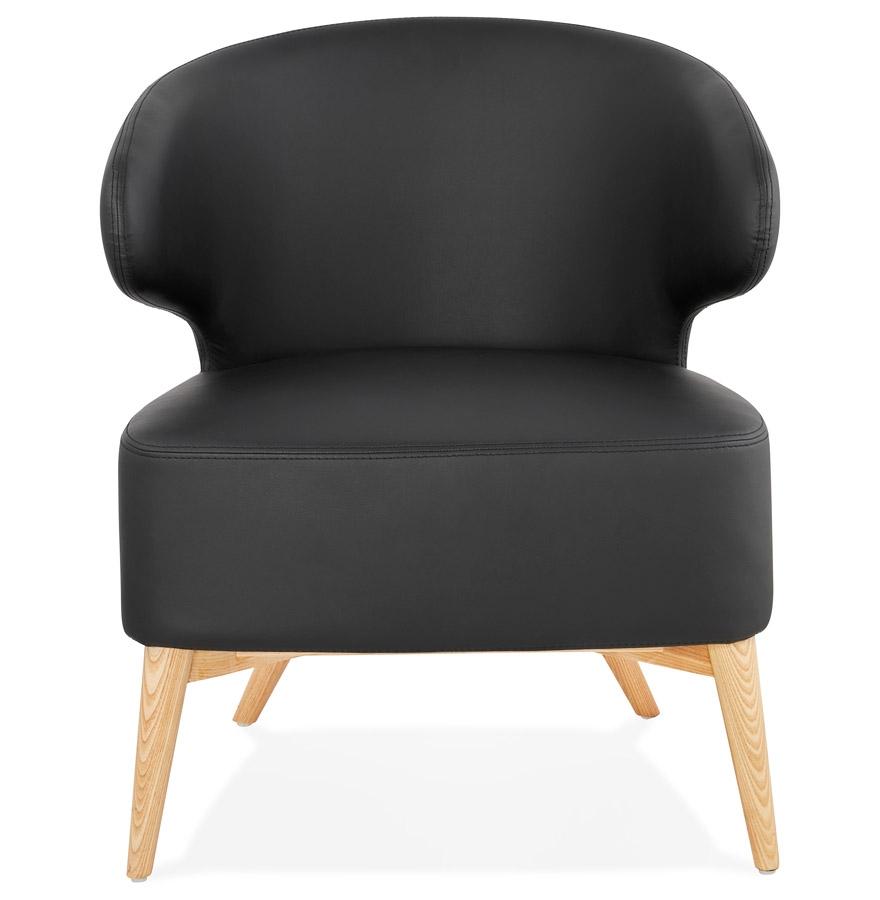 Fauteuil lounge ´NORMAN´ noir et pieds en bois finition naturelle