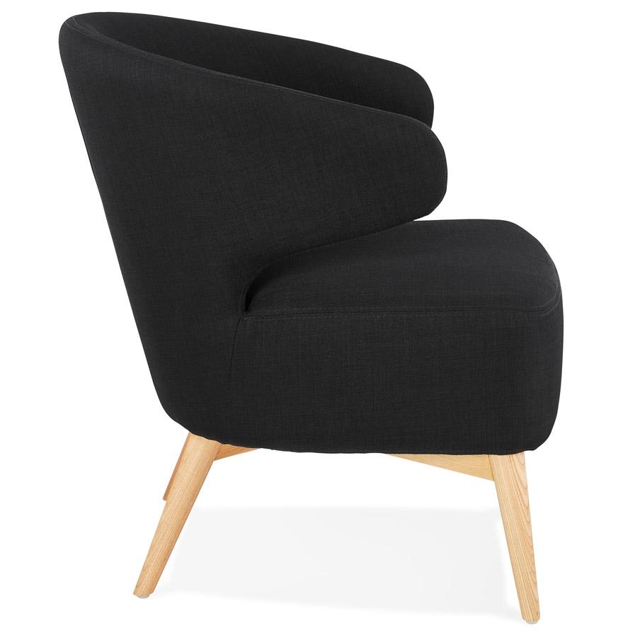 Fauteuil lounge ´ODILE´ en tissu noir et pieds en bois finition naturelle