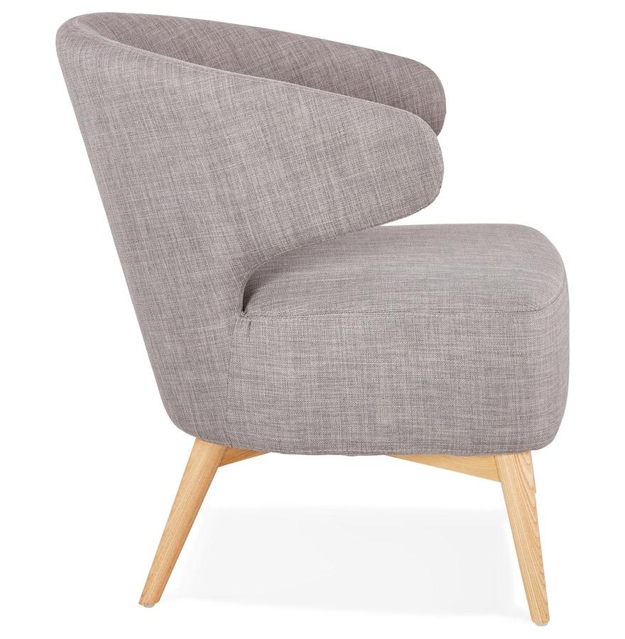 Fauteuil lounge ´ODILE´ en tissu gris et pieds en bois finition naturelle
