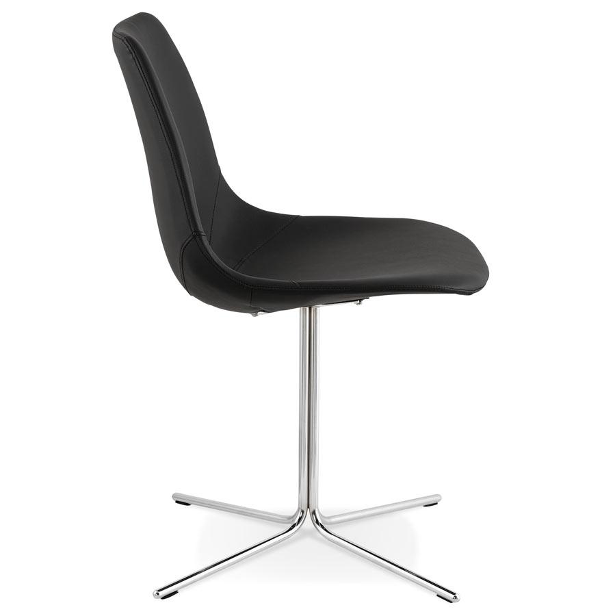 Chaise design ´OLALA´ en matière synthétique noire et pied en métal