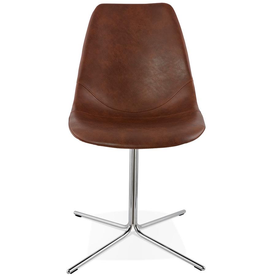 Chaise design ´OLALA´ en matière synthétique brune et pied en métal