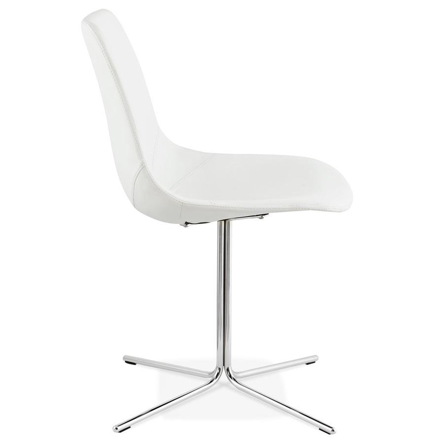Chaise design ´OLALA´ en matière synthétique blanche et pied en métal