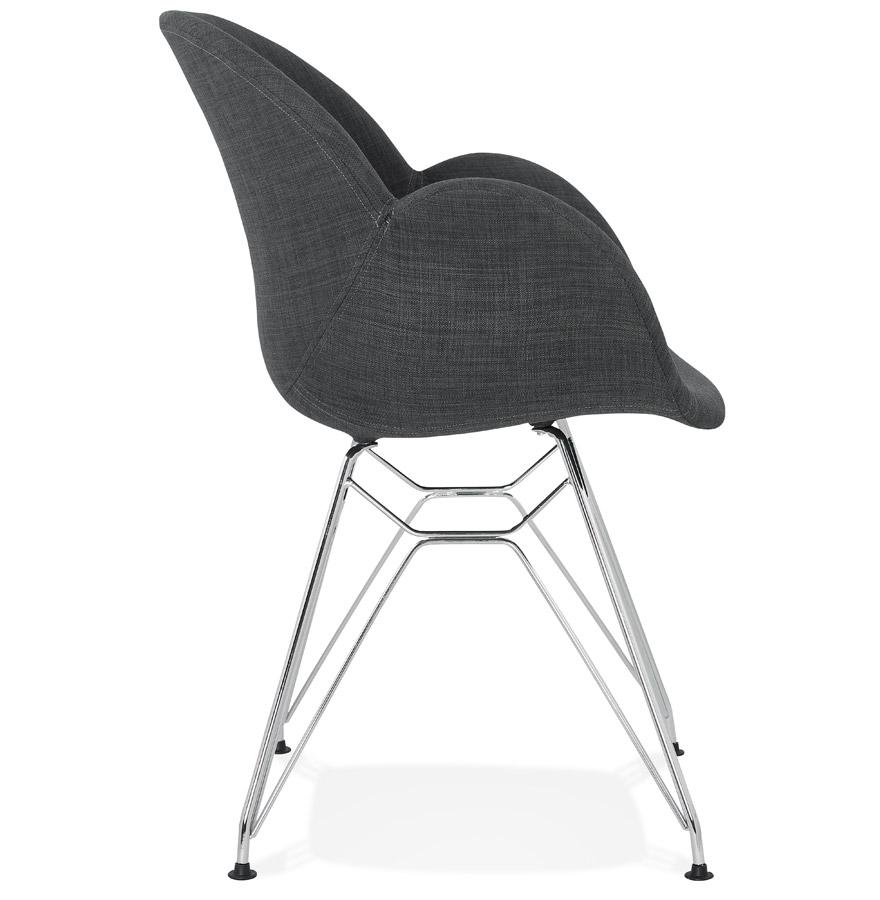 Chaise moderne ´ORIGAMI´ en tissu gris foncé avec pieds en métal chromé