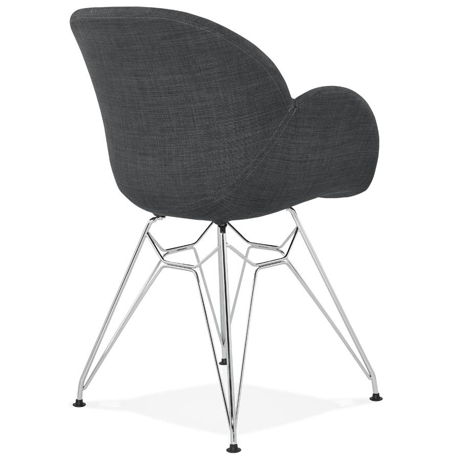 Chaise moderne origami en tissu gris fonc et pieds en for Chaise origami
