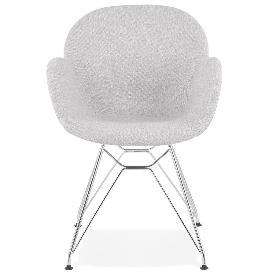 Chaise moderne ´ORIGAMI´ en tissu gris clair avec pieds en métal chromé