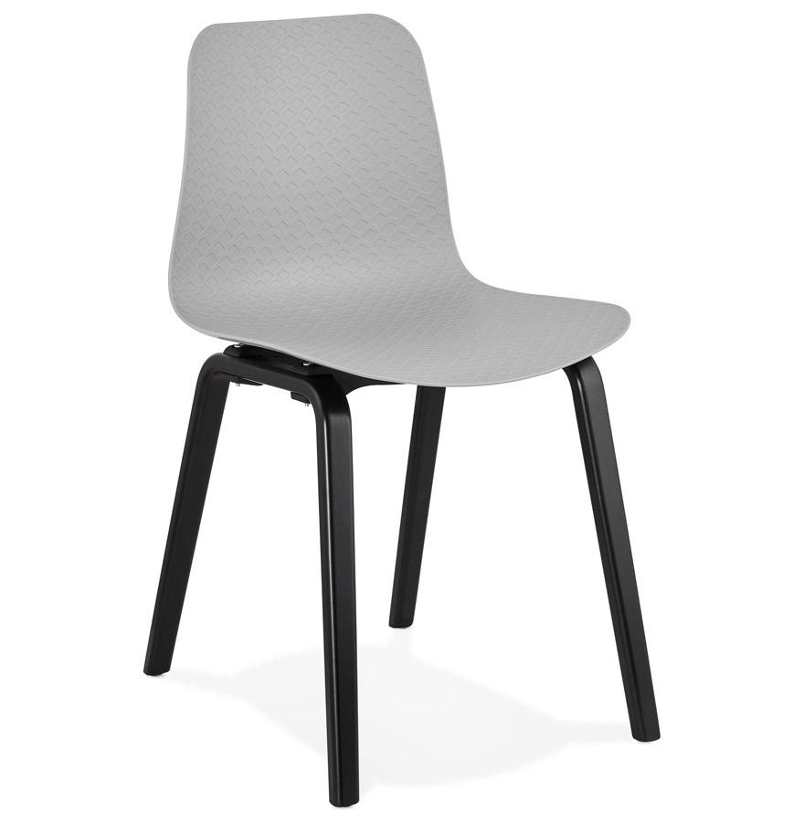 chaise design pacifik grise avec pieds en bois noir. Black Bedroom Furniture Sets. Home Design Ideas
