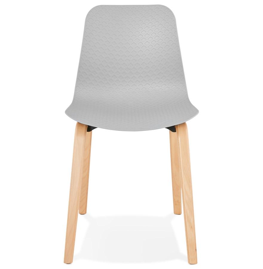 Chaise scandinave ´PACIFIK´ grise avec pieds en bois finition naturelle